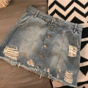 Distressed Button Up Denim Mini Skirt - NWOT